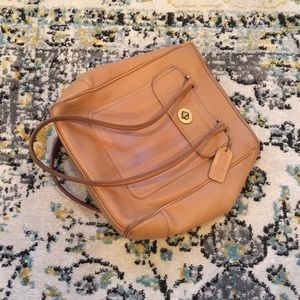 Authentic Coach tan leather tote bag